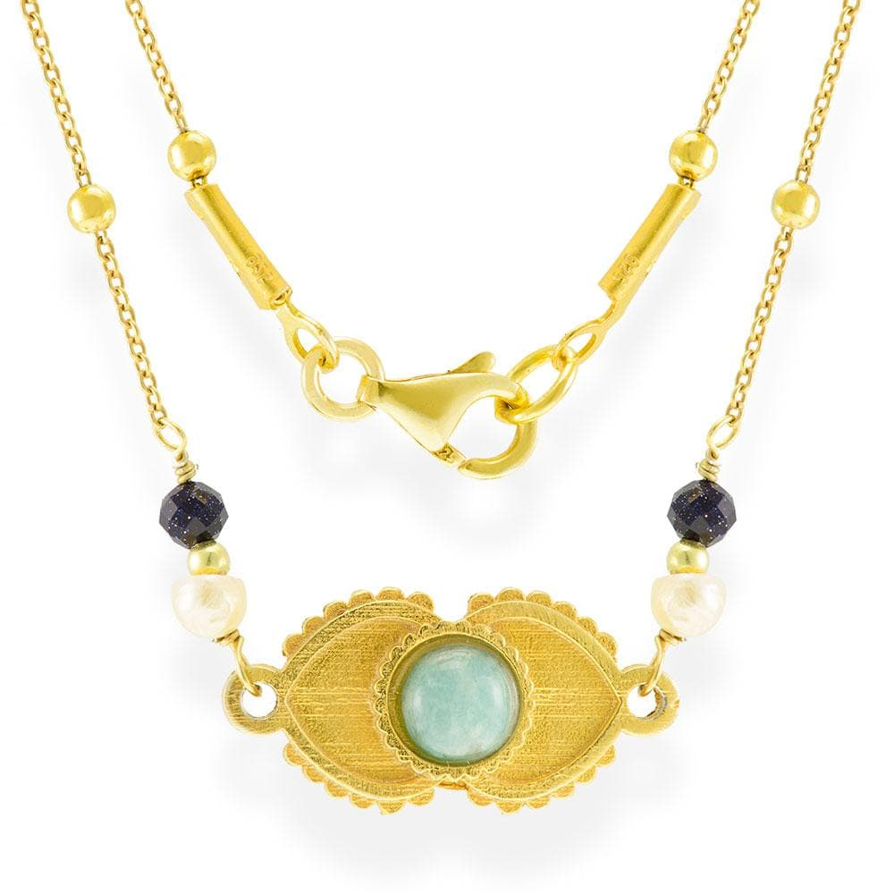 Handmade Short Gold Plated Silver Necklace Evil Eye With Amazonite Gemstone - Anthos Crafts
