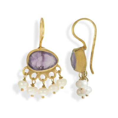 Handmade Gold Plated Silver Drop Earrings With Amethyst Stones & Pearls - Anthos Crafts