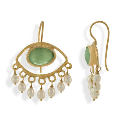 Handmade Gold Plated Drop Evil Eye Earrings With Chalcedony Stones & Pearls - Anthos Crafts