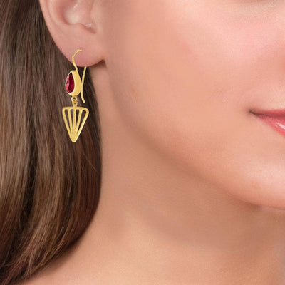 Handmade Gold Plated Drop Earrings With Ruby Quartz Gemstones - Anthos Crafts