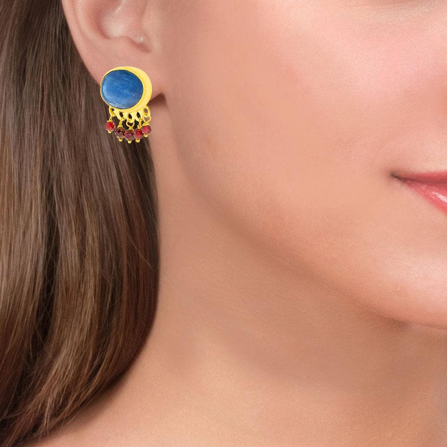Handmade Gold Plated Stud Earrings With Kyanite & Rhodolite Gemstones