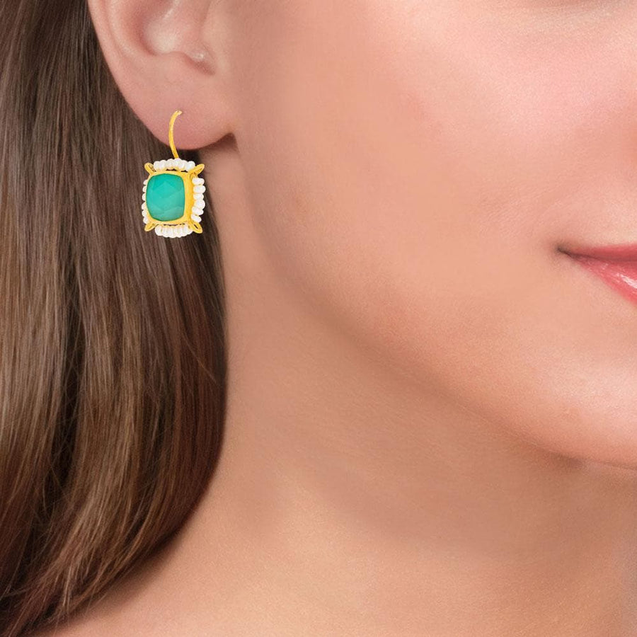 Handmade Gold Plated Drop Earrings With Green Quartz & Pearls
