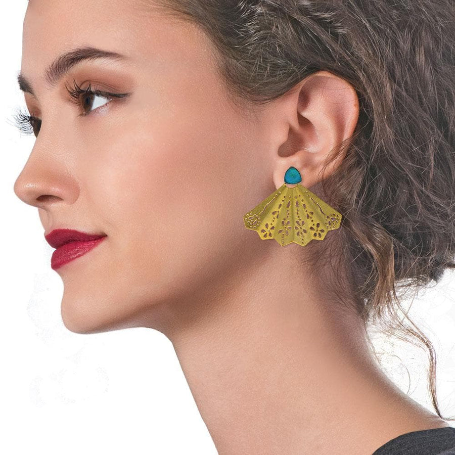 Handmade Gold Plated Silver Stud Earrings Fan With Chrysocolla - Anthos Crafts
