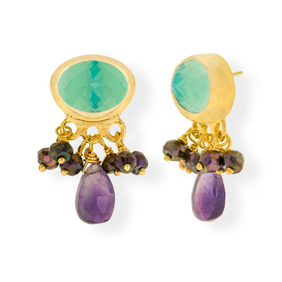 Handmade Gold Plated Silver Stud Earrings With Blue Quartz, Spinel & Amethyst Gemstones - Anthos Crafts