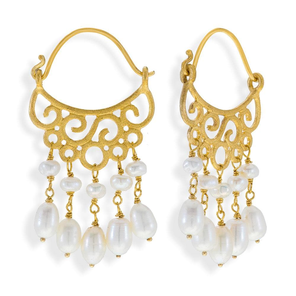 Handmade Gold Plated Silver Drop Earrings With Freshwater Pearls - Anthos Crafts