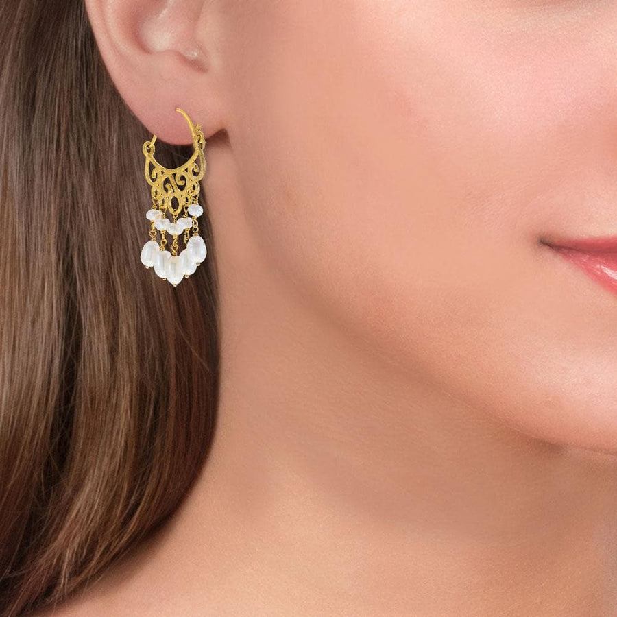 Handmade Gold Plated Silver Drop Earrings With Freshwater Pearls