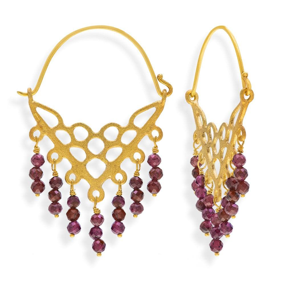 Handmade Gold Plated Silver Drop Earrings With Rhodolite Gemstones - Anthos Crafts