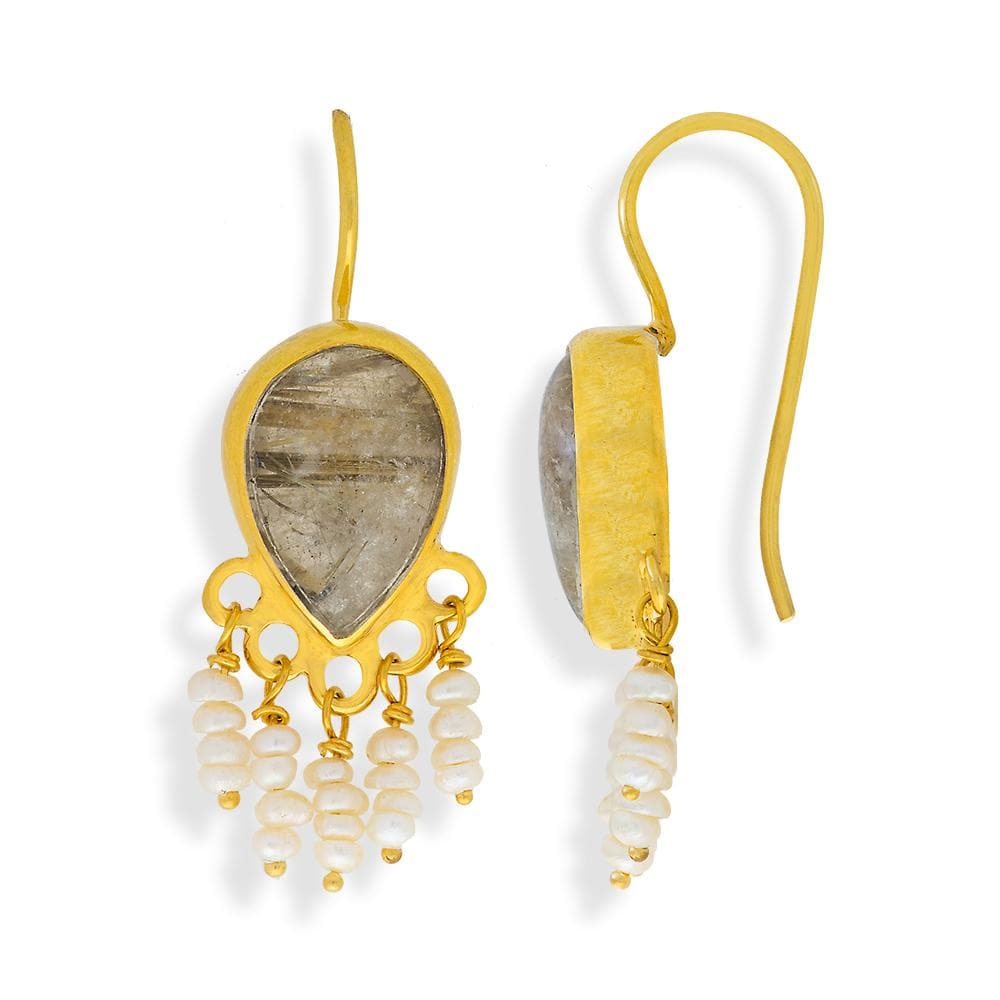 Handmade Gold Plated Silver Drop Earrings With Rutile Stones & Pearls - Anthos Crafts