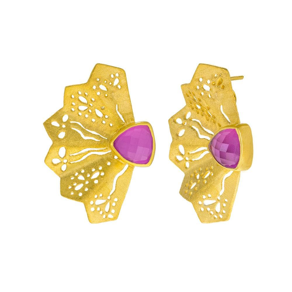 Handmade Gold Plated Silver Stud Earrings Fan With Corundum - Anthos Crafts