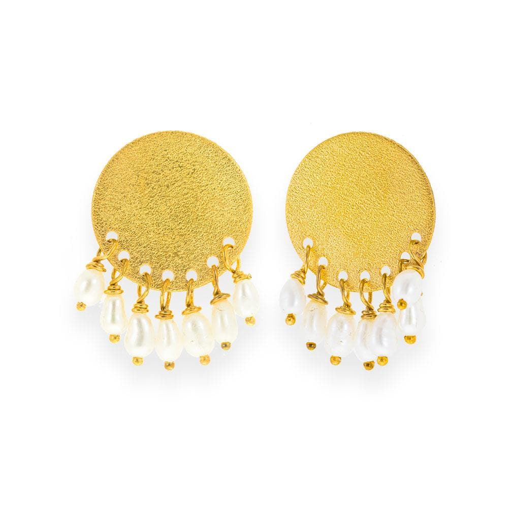 Handmade Gold Plated Silver Stud Earrings With Freshwater Pearls - Anthos Crafts
