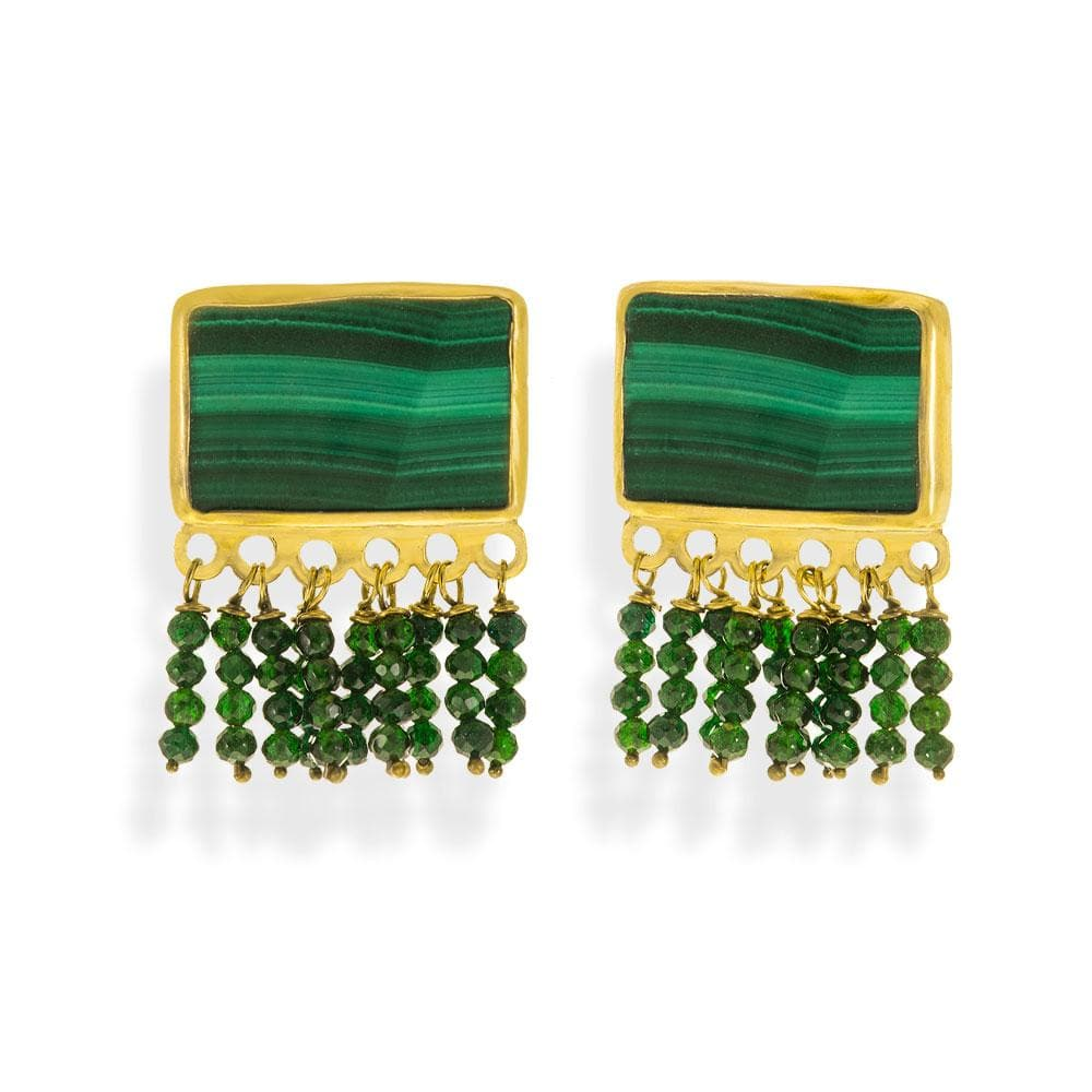 Handmade Gold Plated Silver Stud Earrings With Malachite & Sand Stones - Anthos Crafts