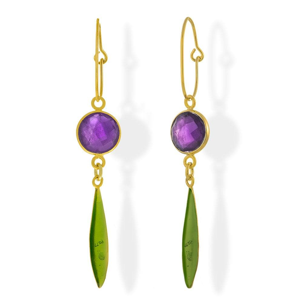 Handmade Gold Plated Silver Lacrima Earrings With Purple Jade & Green Enamel - Anthos Crafts