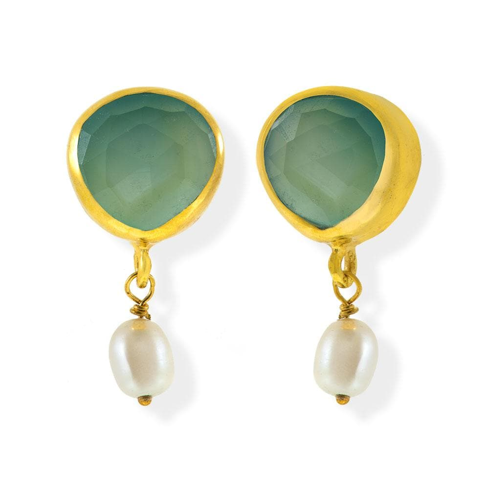 Handmade Gold Plated Silver Stud Earrings With Chalcedony Gemstones & Pearls - Anthos Crafts