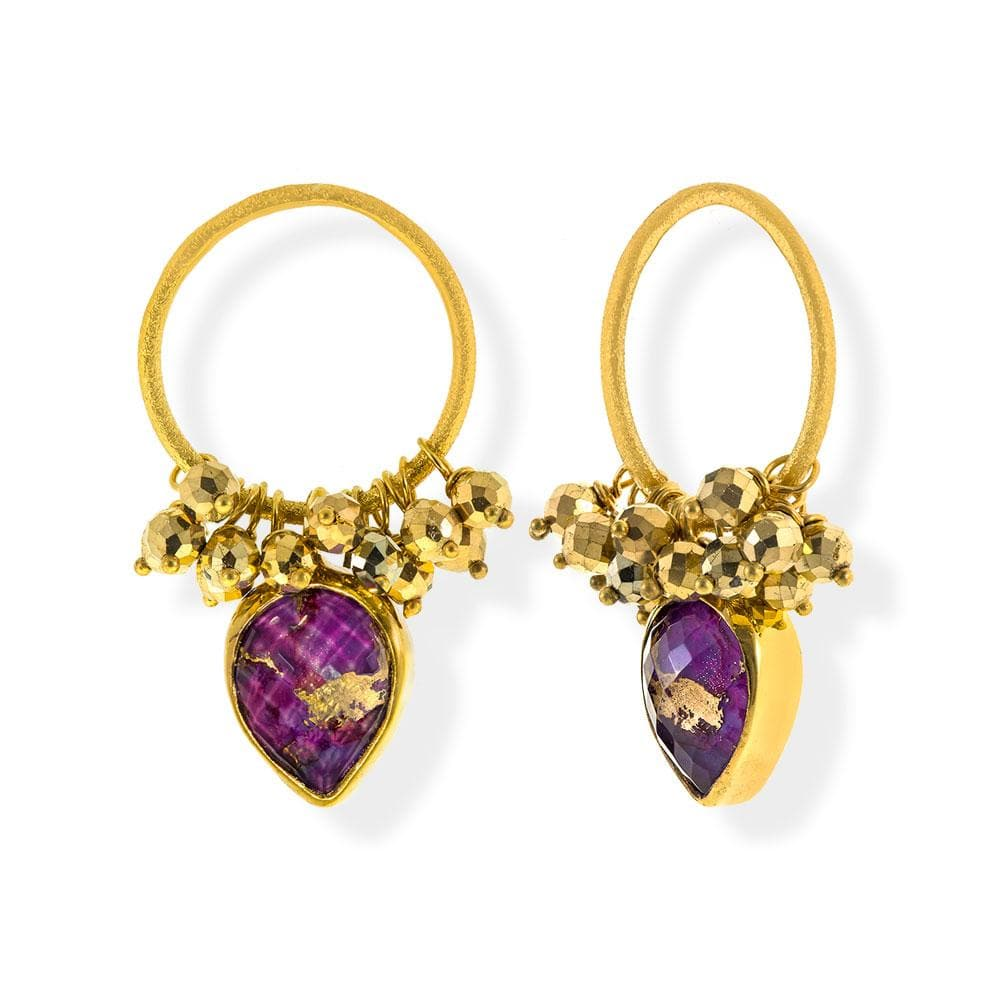 Handmade Gold Plated Silver Earrings With Purple Copper Quartz Gemstones - Anthos Crafts