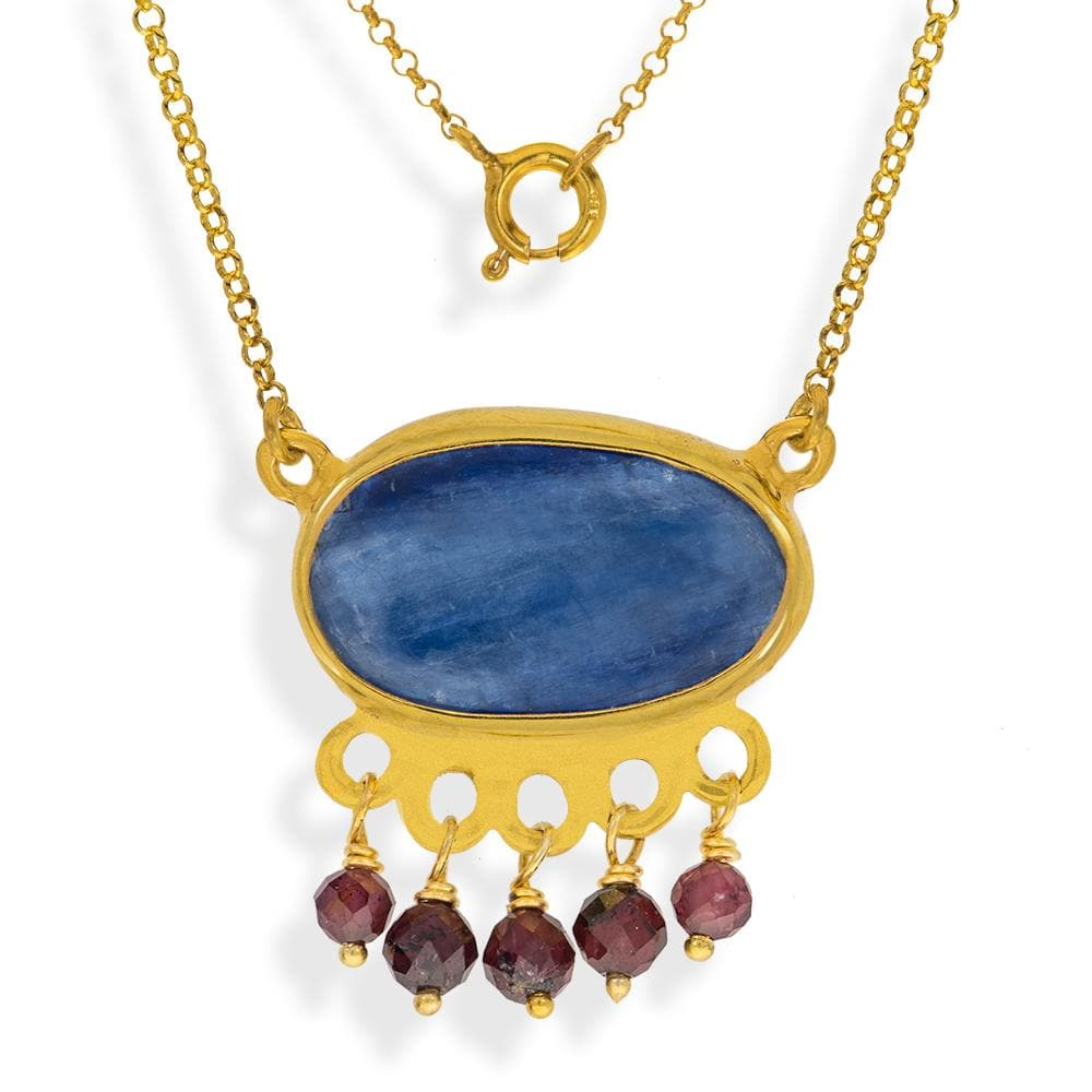 Handmade Short Gold Plated Silver Chain Necklace With Kyanite & Rhodolite Gemstones - Anthos Crafts