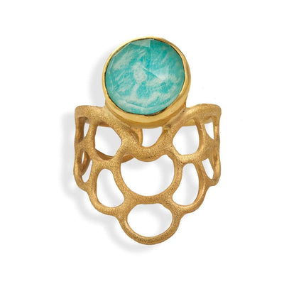 Handmade Gold Plated Silver Ring With Amazonite Gemstone - Anthos Crafts