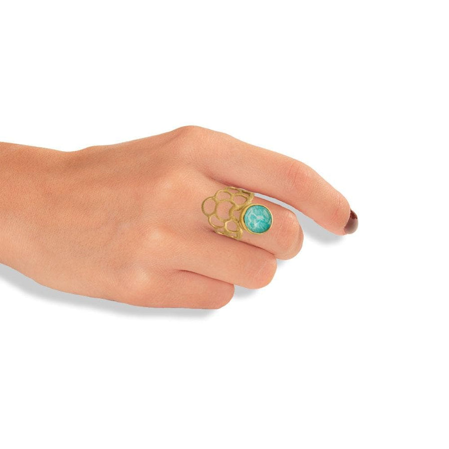 Handmade Gold Plated Silver Ring With Amazonite Gemstone