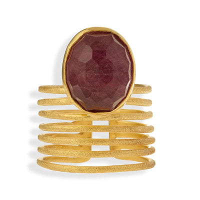 Handmade Gold Plated Silver Ring With Ruby Quartz Gemstone - Anthos Crafts