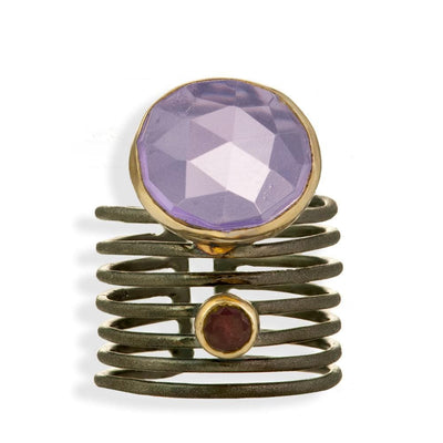 Handmade Gold & Black Silver Plated Ring With Amethyst & Garnet Gemstones - Anthos Crafts