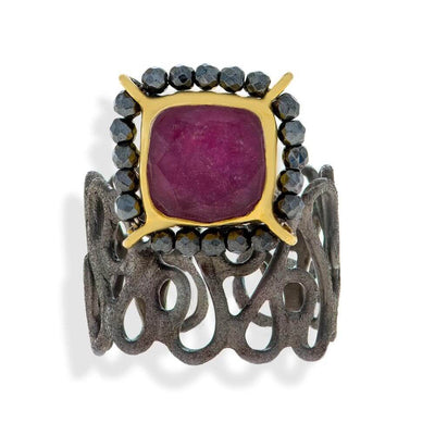 Handmade Black & Gold Plated Silver Ring With Ruby Quartz & Hematite Gemstones - Anthos Crafts