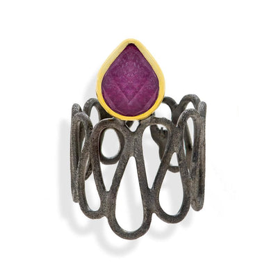 Handmade Black & Gold Plated Silver Ring With A Ruby Quartz Gemstone - Anthos Crafts