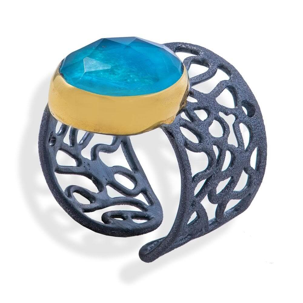 Handmade Black & Gold Plated Silver Ring With Chrysocolla Gemstone - Anthos Crafts