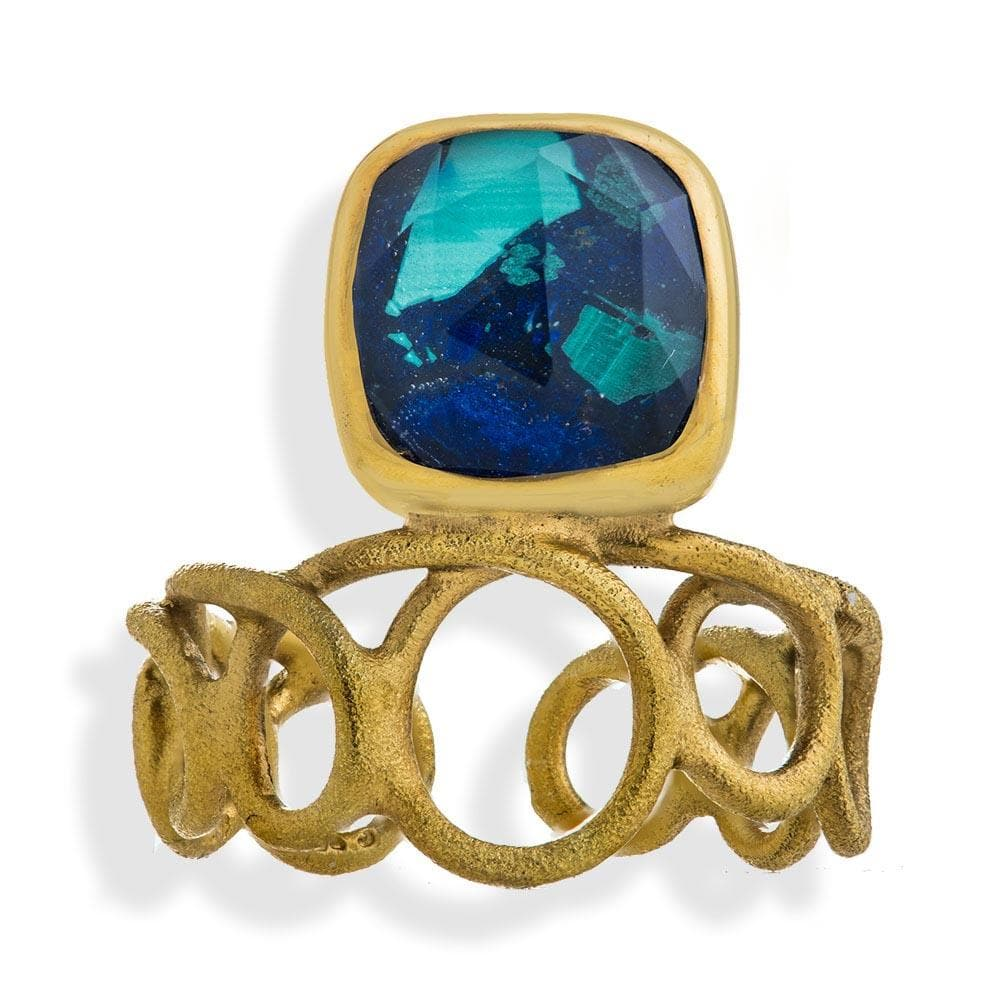 Handmade Gold Plated Silver Ring With Azurite Quartz Gemstone - Anthos Crafts