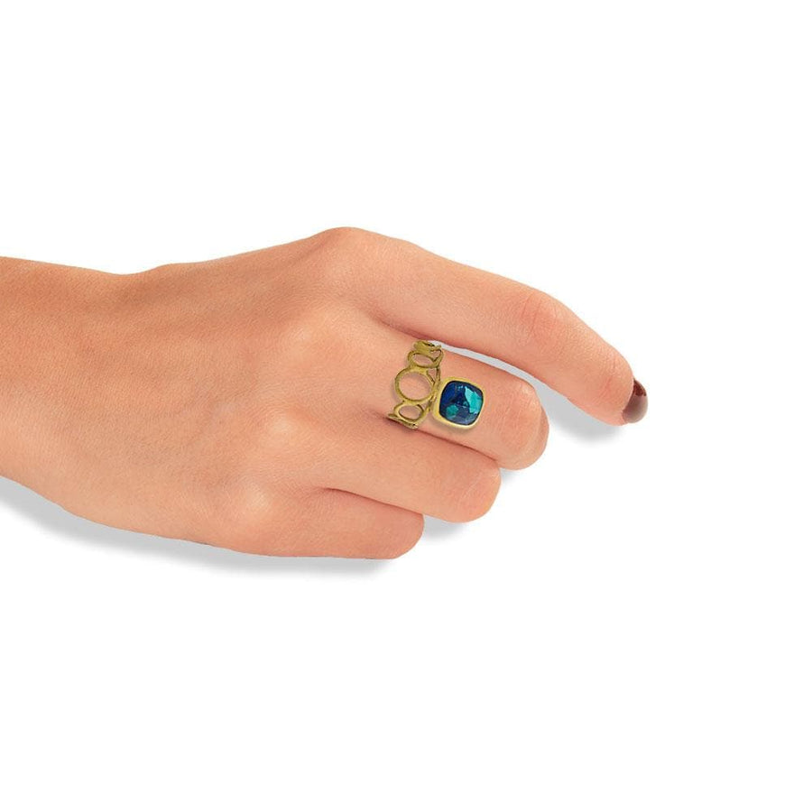 Handmade Gold Plated Silver Ring With Azurite Quartz Gemstone