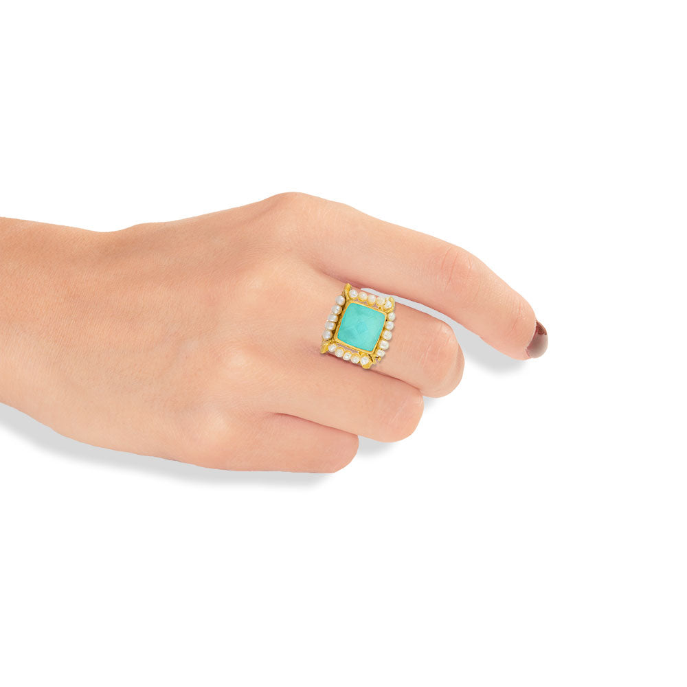 Handmade Gold Plated Silver Ring With Chrysocolla Quartz & Iron Pyrites Gemstones - Anthos Crafts