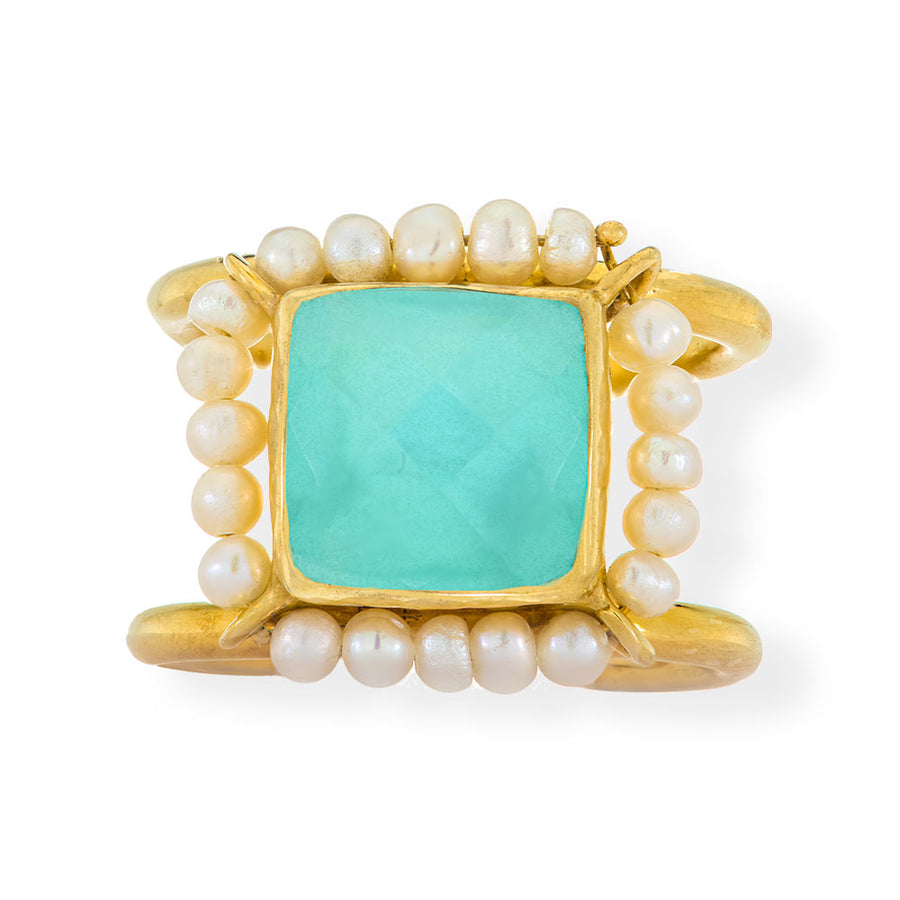 Handmade Gold Plated Silver Ring With Aquaprase Quartz Gemstones & Freshwater Pearls