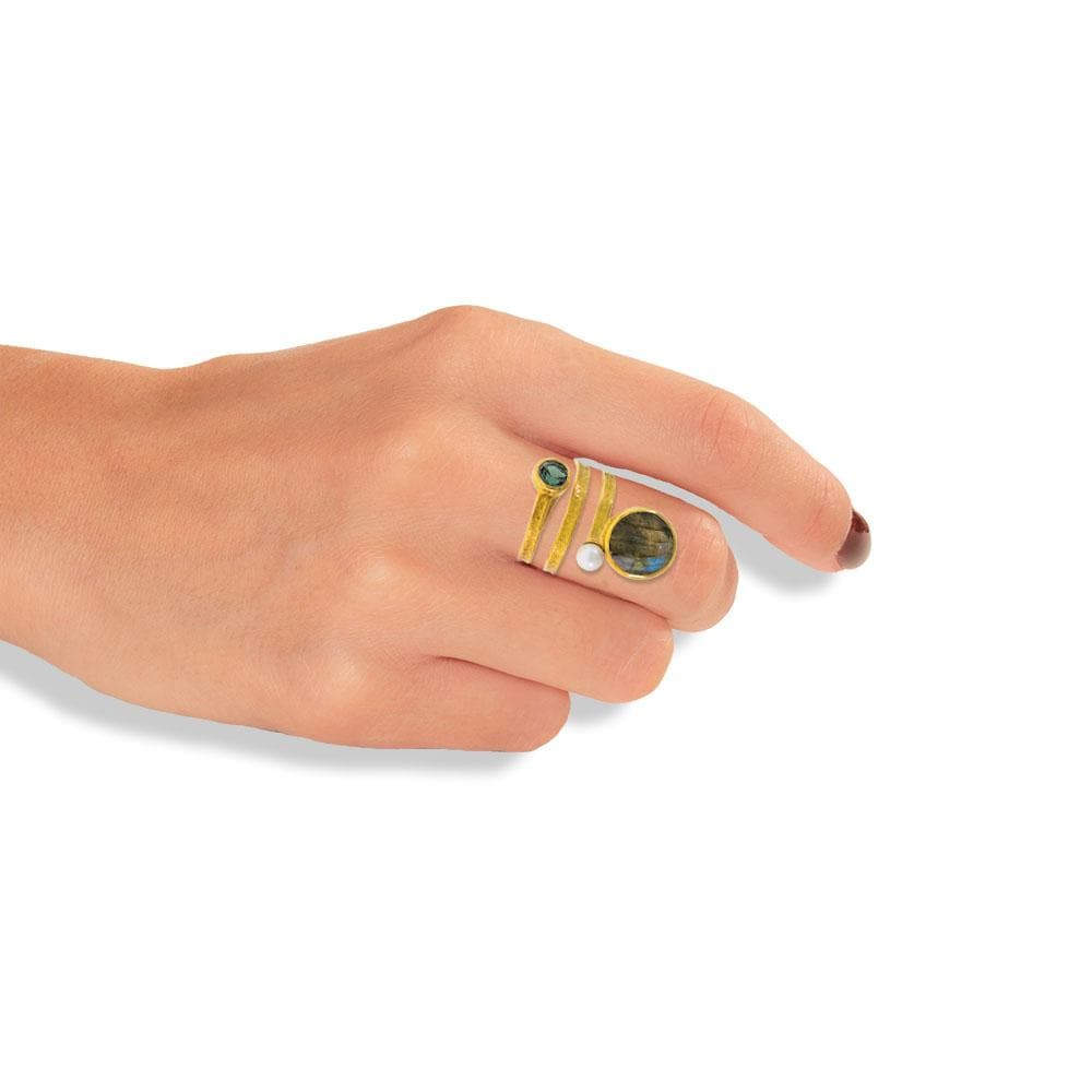 Handmade Gold Plated Silver Ring With Labradorite & Pearl - Anthos Crafts