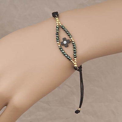 Handmade Black Bracelet With Green Crystals - Anthos Crafts