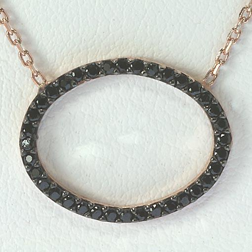Short Rose Gold Plated Silver Necklace With Black Cubic Zirconia Small Oval - Anthos Crafts