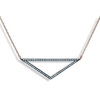 Short Rose Gold Plated Silver Necklace With Turquoise Cubic Zirconia Triangle - Anthos Crafts