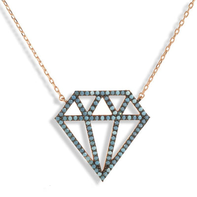 Short Rose Gold Plated Silver Necklace With Turquoise Cubic Zirconia Diamond - Anthos Crafts