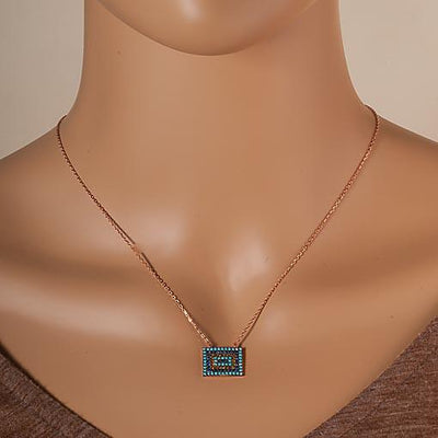 Short Rose Gold Plated Silver Necklace With Turquoise Cubic Zirconia Rectangular Eye - Anthos Crafts