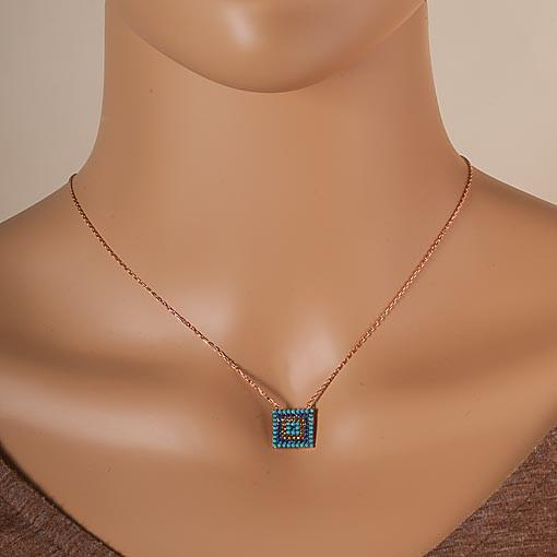 Short Rose Gold Plated Silver Necklace With Turquoise Cubic Zirconia Square Eye - Anthos Crafts
