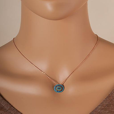 Short Rose Gold Plated Silver Necklace With Turquoise Cubic Zirconia Oval Eye - Anthos Crafts