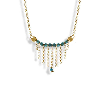 Handmade Gold Plated Silver Short Chain Necklace With Sky Blue Crystals - Anthos Crafts