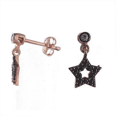 Rose Gold Plated Silver Star Earrings With Black Cubic Zirconia - Anthos Crafts