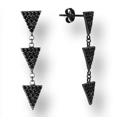Rhodium Plated Silver Earrings With Black Cubic Zirconia 3 Triangles - Anthos Crafts