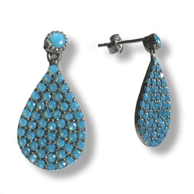 Rhodium Plated Silver Earrings With Turquoise Cubic Zirconia Teardrops - Anthos Crafts