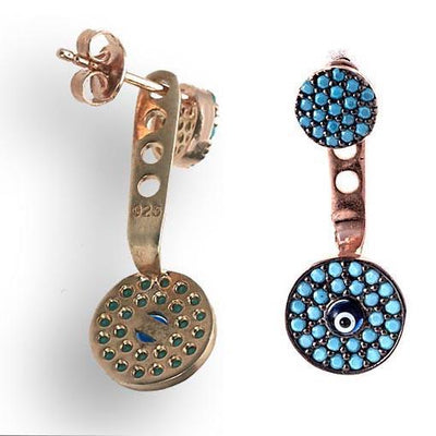 Rose Gold Plated Silver Earrings With Turquoise Cubic Zirconia Eye - Anthos Crafts