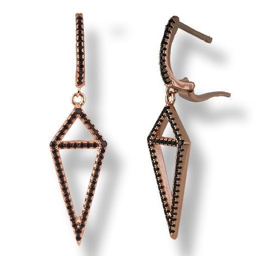 Rose Gold Plated Silver Earrings With Black Cubic Zirconia Triangle - Anthos Crafts