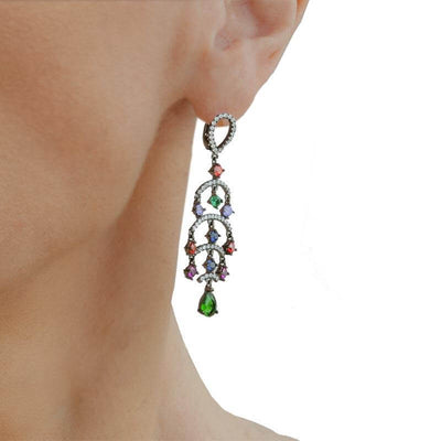 Black Plated Silver Chandelier Earrings With Orange, Purple, Blue, Green & Clear Cubic Zirconia - Anthos Crafts