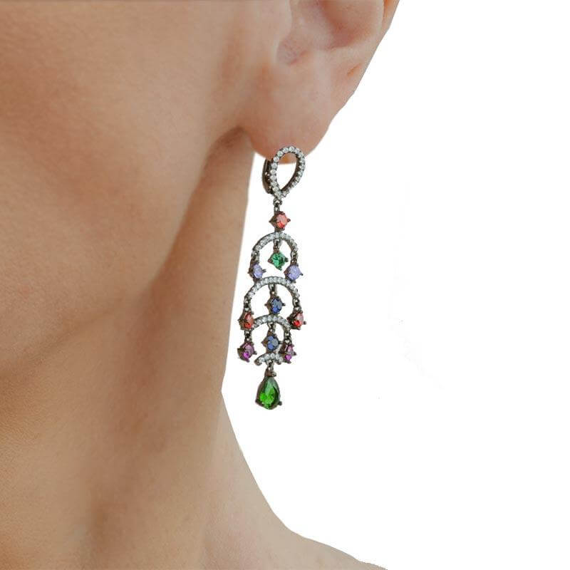 Black Plated Silver Chandelier Earrings With Orange, Purple, Blue, Green & Clear Cubic Zirconia