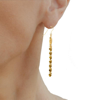 Golden Falls  Handmade Gold Plated Silver Long Chandelier Earrings With Gold Hematite - Anthos Crafts