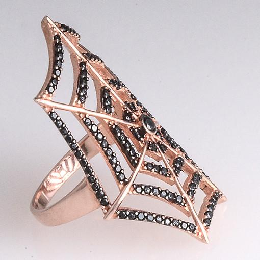 Rose Gold Plated Silver Ring With Black Cubic Zirconia Spider - Anthos Crafts