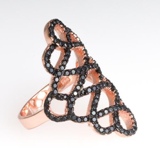Rose Gold Plated Silver Ring With Black Cubic Zirconia - Anthos Crafts