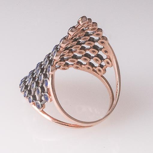 Rose Gold Plated Silver Ring With Clear Cubic Zirconia Triangle - Anthos Crafts